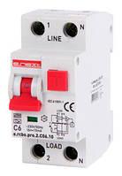 Выключатель дифференциального тока с функцией защиты от сверхтоков e.rcbo.pro.2.С06.10, 1P+N, 6А, С, тип А, 10мА