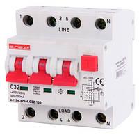 Выключатель дифференциального тока с функцией защиты от сверхтоков e.rcbo.pro.4.С32.100, 3P+N, 32А, С, тип А, 100мА
