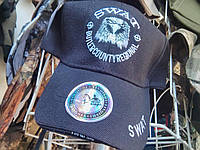 Брендовая бейзболка SWAT черная