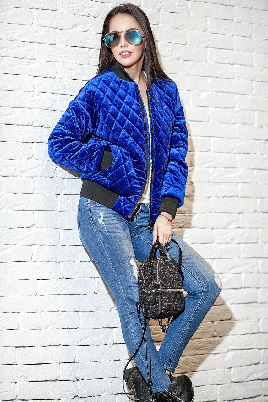 Женская велюровая короткая куртка с карманами