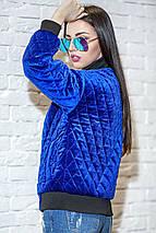 Женская велюровая короткая куртка с карманами, фото 2