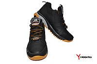 Мужские зимние кожаные ботинки, SPLINTER, черные, черно-серо-желтая подошва