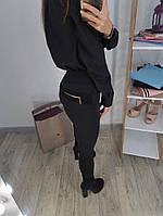 Плотные черные лосины с карманом