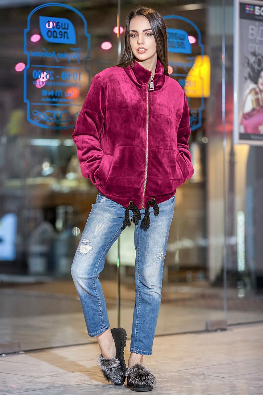 Осенняя короткая бархатная куртка с утеплителем
