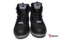 Мужские зимние кожаные ботинки, SPLINTER, черные, прошитые, на языке серая резинка с логотипом фирмы