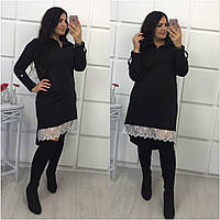 Черное платье-рубашка с французским кружевом