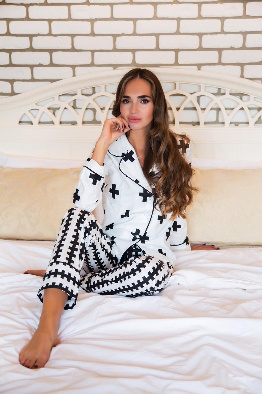 47b5e6385a18 Красивая брючная пижама с черным принтом, цена 1 010 грн., купить в  Харькове — Prom.ua (ID#587274705)