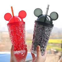 Бутылка-стакан Микки Маус Ice Cup с трубочкой, охлаждающая