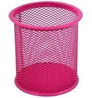 Подставка для ручек настольная круглая розовая Optima (O36301-09)