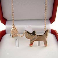 Кулон CARTIER CAT ювелірна біжутерія золото 14к кристали Swarovski