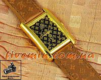Женские наручные часы Louis Vuitton Quartz Brown Gold Black качественная копия