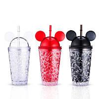 Пляшка-стакан Міккі Маус Ice Cup з трубочкою, охолоджуюча