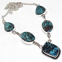 Ожерелье с камнем натуральная хризоколла в серебре.