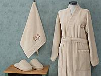 Халат с полотенцем и тапочками Marie Claire OLEANDRE CREAM S