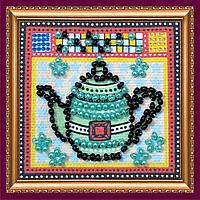 """Набор мини-магнит для вышивания бисером АММ-012 """"Бирюзовый чайник"""" (холст)"""