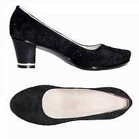 """Туфли женские замшевые на каблуке, декорированные камнями. ТМ """"Maestro"""", фото 1"""