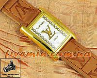 Женские наручные часы Louis Vuitton Quartz Brown Gold White качественная копия