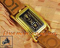 Женские наручные часы Louis Vuitton Quartz Dual Brown Gold Black качественная копия