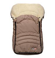 Детский теплый конверт на овчине для санок и колясок с прорезью для ремней коляски KIDS