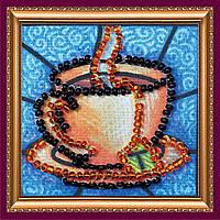 """Набор мини-магнит для вышивания бисером АММ-014 """"Чашечка чая-1"""" (холст)"""