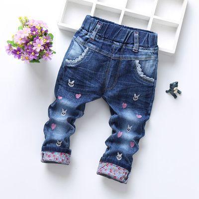 Детские джинсы зайчики и сердечки