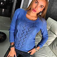 Стильный женский свитер в синем цвете