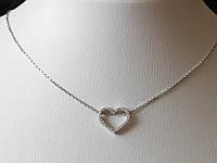 Серебряное колье Сердце с фианитами. Артикул 908-01004, фото 1