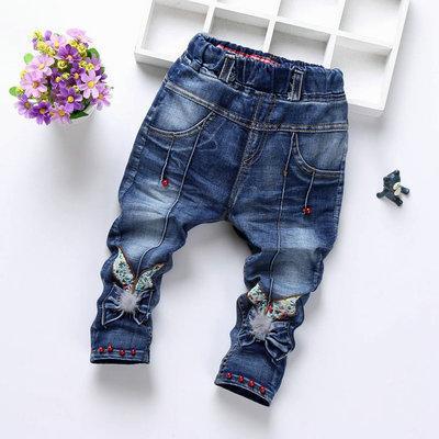 Детские джинсы бабочка и бусинки