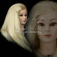 Учебная голова-манекен на штативе 50 см. цвет белый, натуральный волос, фото 1