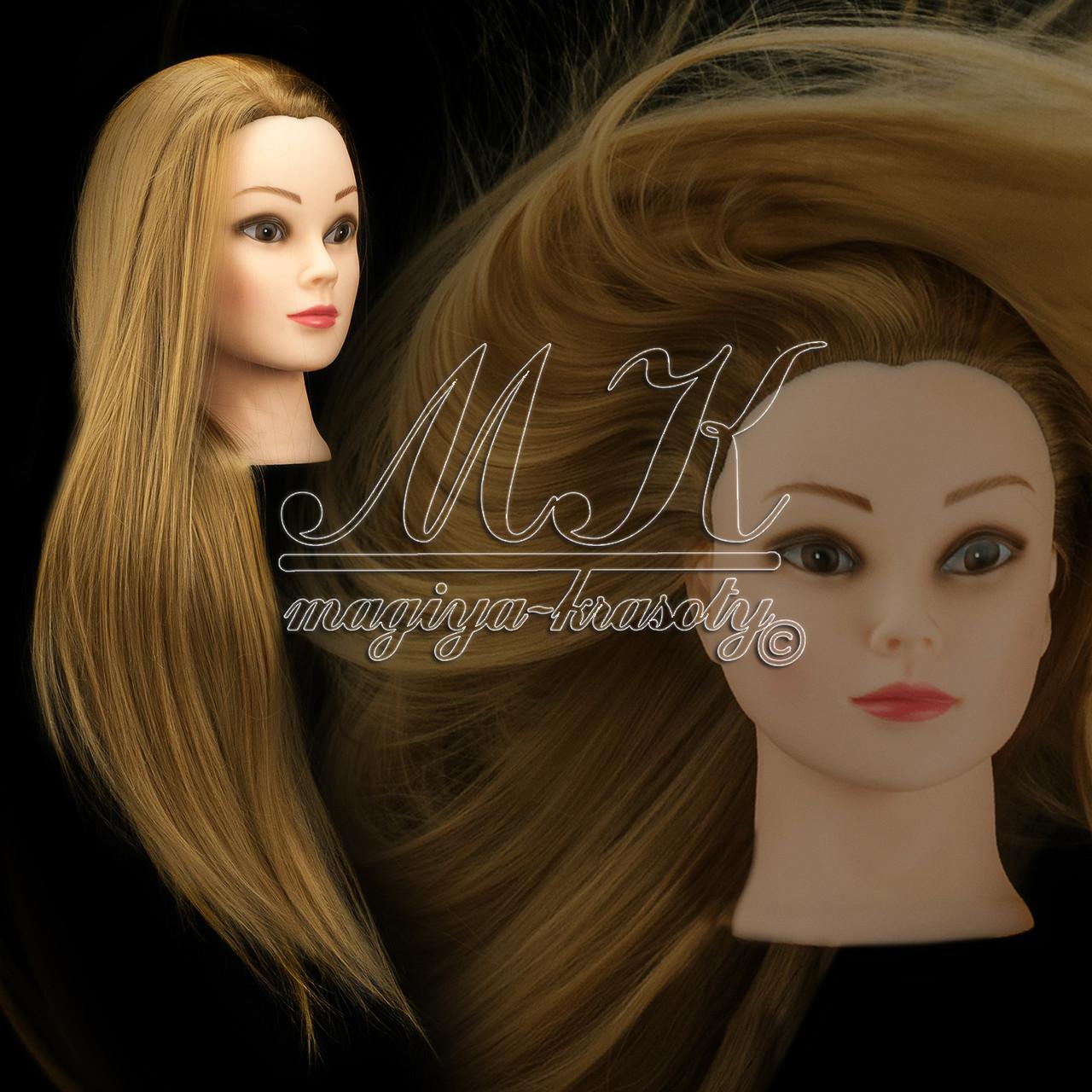 Учебная голова 20% натуральных волос, длина 65-70 см , фото 1