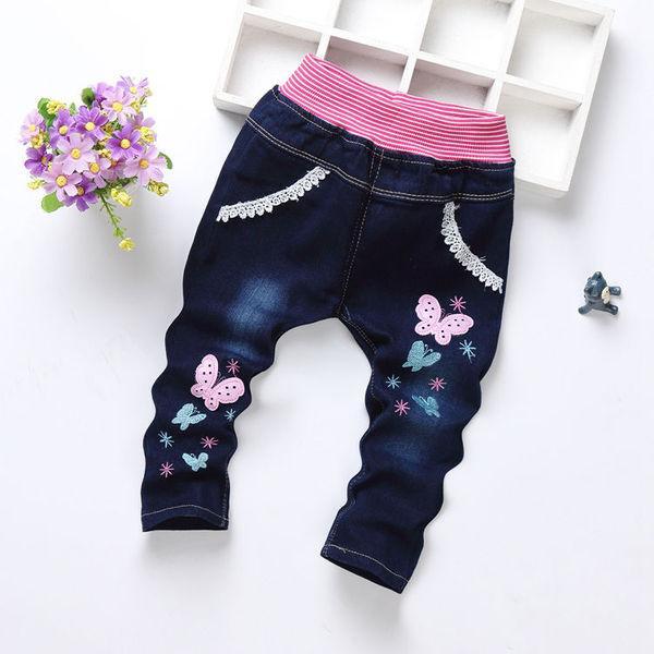Детские джинсы бабочки и снежинки