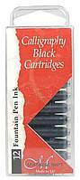 Набор картриджей с чернилами для перьевой ручки, черный, 12шт, Manuscript