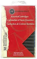 Набор картриджей с чернилами для перьевой ручки, 5 цветов, 30шт, Manuscript