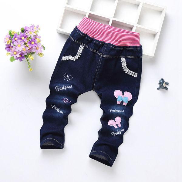 Детские джинсы розовая резинка бант