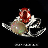 """Яркое кольцо с натуральным  опалом и сапфиром падпараджа """"Огненный вихрь"""",размер19,1 , от студии LadyStyle.Biz"""