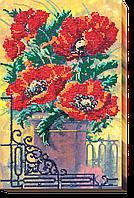 """Набор для вышивания МИКРОбисером АВМ-003 """"Винтажные маки"""" (холст)"""