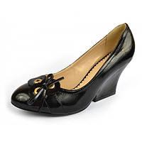 Туфли женские черные лаковые на танкетке «Emma», Черный, 41