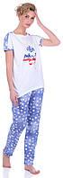 Комплект одежды MISS FIRST USA Белый (футболка+Штаны), Голубой, L