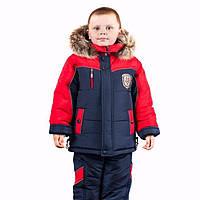 Детские зимние комбинезоны для мальчиков р.86-110 до -20 мороза на наши зимы теплющие синий с красной планкой