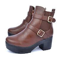 Ботинки женские на тракторной подошве коричневые на платформе «Zara», Коричневый, 37