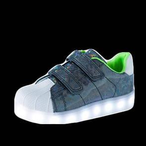 LEd кроссовки Superstar на липучках хамелеон темные 5120-3, фото 2