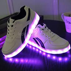 LEd кроссовки белые с черными полосками на шнурках 5121-1, фото 3