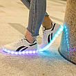 LEd кроссовки белые с черными полосками на шнурках 5121-1, фото 5