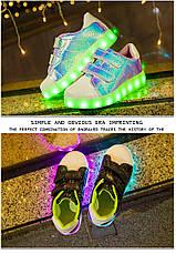 LEd кроссовки Superstar на липучках хамелеон розовые 5120-1, фото 3