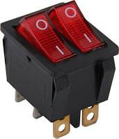 Переключатель клавишный e.switch.key.02, 6 pin, двойной, с индикацией