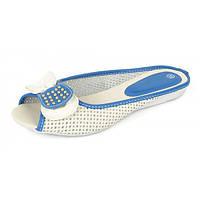 Сабо шлепанцы женские кожаные с перфорацией на белой подошве «Light Blue», Белый, 37