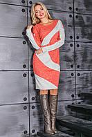 Осеннее платье из ангорового трикотажа с геометрическим принтом (3 расцветки)