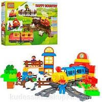 Конструктор для малышей Jixin 6188 А Мой первый поезд / Железная дорога 110 дет (0437) аналог Лего Дупло