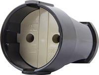 Гнездо штепсельное e.socket.001.10.black, без з/к,10А черный