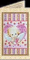 """Набор-открытка для вышивания бисером АО-135 """"Маленький купидон"""" (холст)"""
